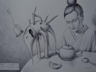 """Продаётся графическая картина Климова О. В. """"Явление червивого слона"""""""