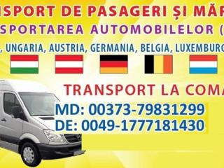 Transport persoane, colete; Germania, Austria, Belgia, Olanda, Cehia