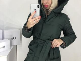 Новая длинная куртка с поясом и капюшоном