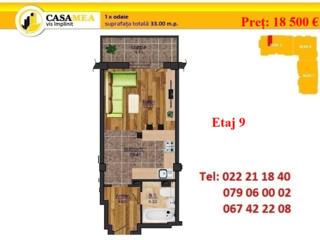 Botanica! Apartament 1 odaie 33 m. p - 18 500€! Bloc dat in exploatare