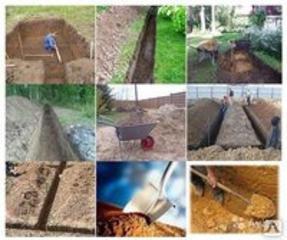 Копаем канализации траншеи сливные ямы септики водопровод есть кольца.