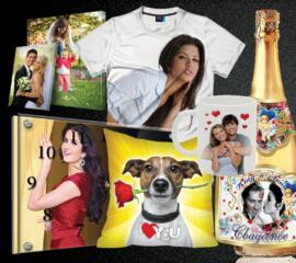 Печатаем свадебную полиграфию, ФУТБОЛКИ, ЧАШКИ, картины, фотообои ЧАСЫ