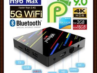 +1000 каналов+ 4 K Ultra HD. ТВ боксы 2/16 Гб. Wi-Fi+2. Android 9.0