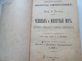"""Старинная книга """" Человек и животный мир"""" прф Пизон 1903 г"""