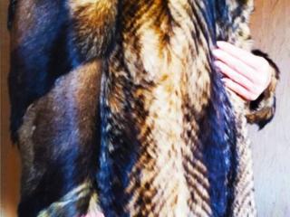 Шуба женская, натуральный мех, Волк 46-48, длина 95 см