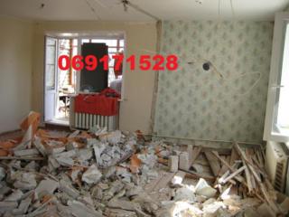 Демонтаж тумб стены штукатурки плитки стяжки пола, чистка стен от