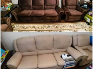 Перетяжка диванов, кресел, кухонный уголок, стулья