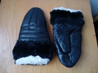 Рукавицы кожаные теплые