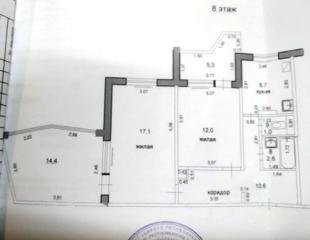Пентагон, 2-комнатная кв. с переходной лоджией, 8/9 эт.