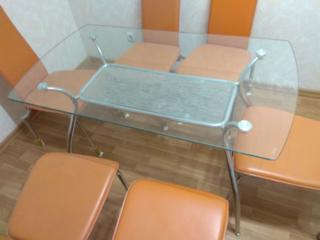 Стол кухонный обеденный стеклянный с полкой, размер 70*125