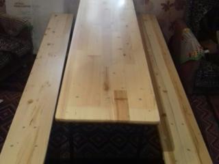 Masă cu 2 scaune în set L= 2 m, lemn natural p/u terase cafenea, bar!