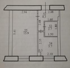 Продаётся 1-комнатная квартира по улице Космонавтов 36