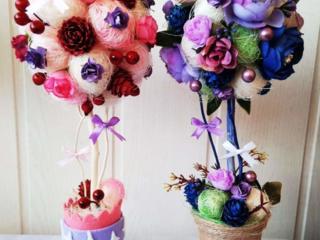 Композиции из искусственных цветов, букет невесты, кофейные, из конфет