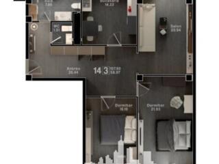 Spre vânzare apartament cu 3 camere în bloc nou situat în sectorul ...