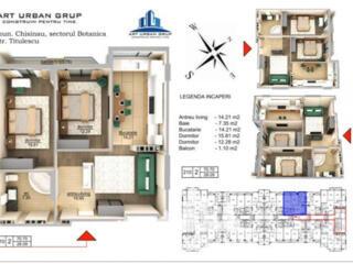 Se oferă spre vânzare apartament cu 2 camere + living în variantă ...