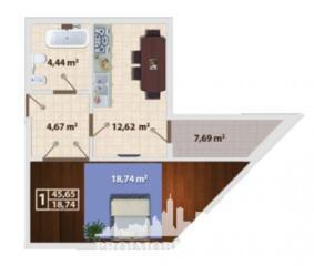 Apartament cu 1 cameră, bucătărie, bloc sanitar! Suprafața totală-