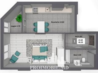 Apartament cu 1cameră și suprafața de 46 m2, în complexul Newton .