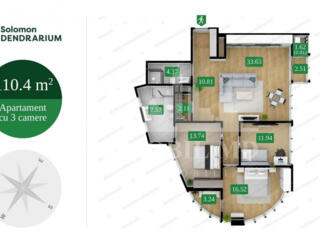 Vă propunem acest apartament cu3camere în Complexul Solomon ...