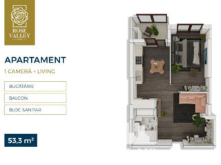 Spre vânzare apartament cu 1 cameră  + living amplasat în sectorul ..