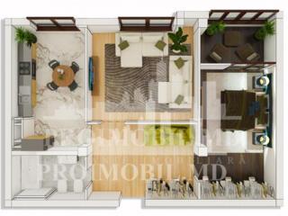 Vă prezentăm un apartament cu 2camere + living și suprafața de 67