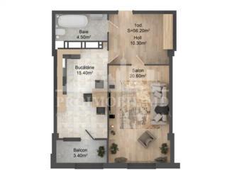 Apartament cu 1cameră +living și suprafața de 56m2. Complex ...