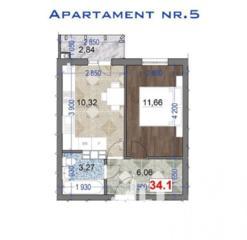 De vânzare apartament cu 1 cameră și suprafața de 34 mp. Proiectul ..