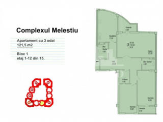 De vânzare apartament cu suprafața de 120 mp. Are 2 dormitoare, ...