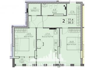 Spre vânzareapartament cu 2 camere cu o suprafață de 77 mp, în ...