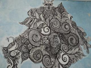 Роспись мехенди на стенах. Desen mehendi pe pereţi