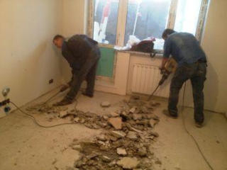 Монтаж и демонтаж старых полов демонтаж бетонного пола бетоновырубка.