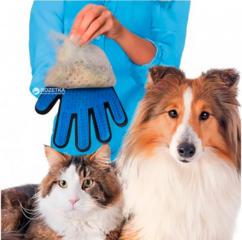 Перчатка для вычесывания шерсти True Touch Черно-синяя на правую руку