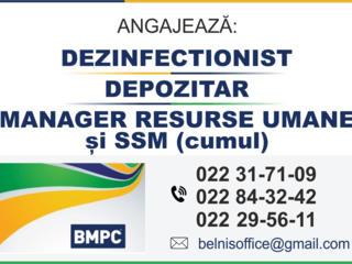 Dezinfecționist. Depozitar. Manager resurse umane si SSM (cumul).