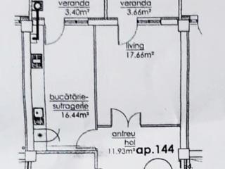 Apartament 1odae Etjul 6,Suprafata 59,3 m² Riscani, pe bd. Moscovei,