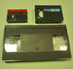 Видеокассеты для видеокамер и видеомагнитофонов.