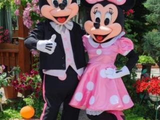 Mickey si Minnie Mouse in Moldova / costume roz / Микки & Минни Маус