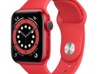 Apple Watch Series 6 GPS 44mm Red Aluminum Case with Red Sport Band /