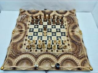 В наличие нарды резные шахматы картина*Геометрия с Самураиками*