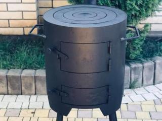 Печка для казана универсальная, с гриль решёткой.
