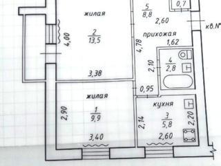 2 комнатная 5/5 Кировский (баня) раздельные жилая 43/25/6