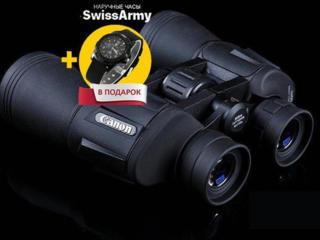 Мощный бинокль CANON + Часы Swiss Army в подарок