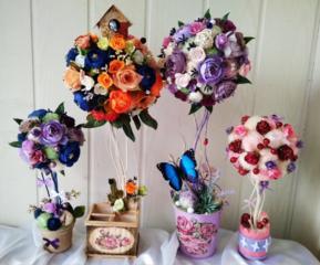Цветочные и кофейные топиарии и композиции, букет невесты