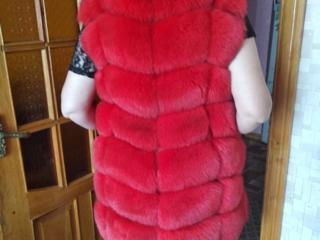 Красная натуральный мех.. розовая искусственный мех