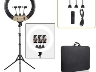 Кольцевая LED лампа ZB-F348-1 45 см, 3 крепления для телефона,