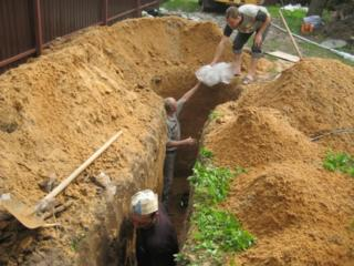 Земляные работы копаем техникой вручную канализаций траншеи погреба