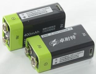 "Аккумулятор ZNTER 9V 400 mAh, типа ""Крона"", c micro USB."