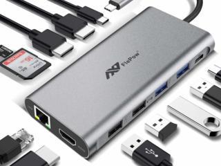 Док-станция для ноутбука FlePow 12 в 1, USB hub, разветвитель, хаб.