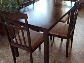 Комплект из натурального дерева стол + 4 стула цвет темный орех.