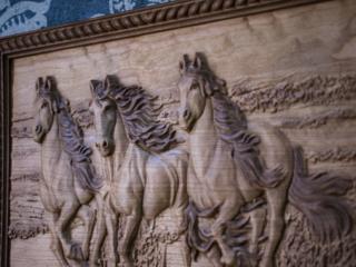 Три лошади 3D картины из дерева