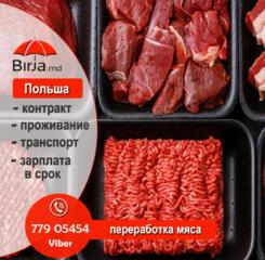 Работа на переработке говядины. Зарплата 16000 рублей в месяц пмр.