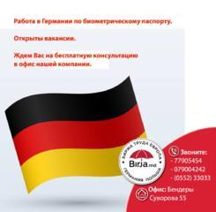 Работа. Германия. Открыты вакансии. Оформление по биометрике.